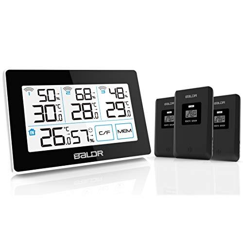 Konsen Funk-Wetterstation mit 3 Außensensoren, digital Thermometer-Hygrometer für innen und außen mit Hintergrundbeleuchtung, Min/Max Werte